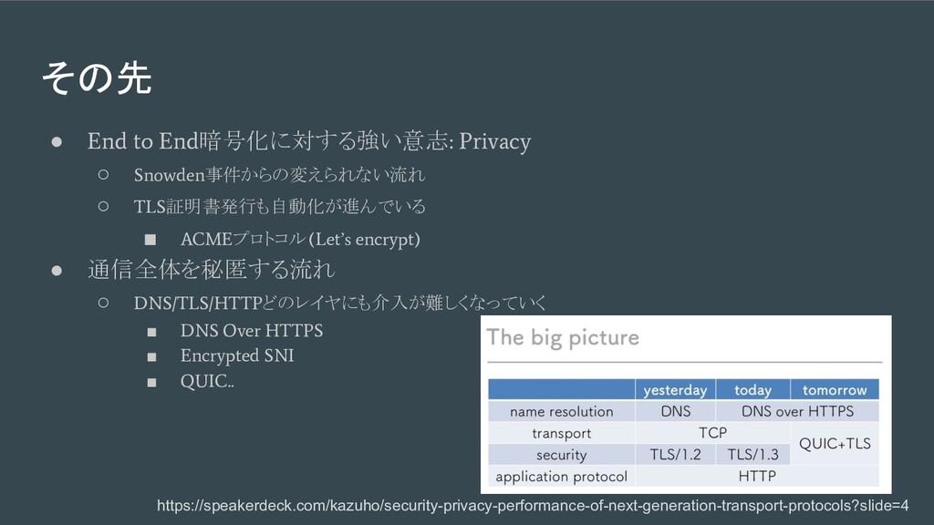 その先 ● End to End 暗号化に対する強い意志 : Privacy ○ Snowde...