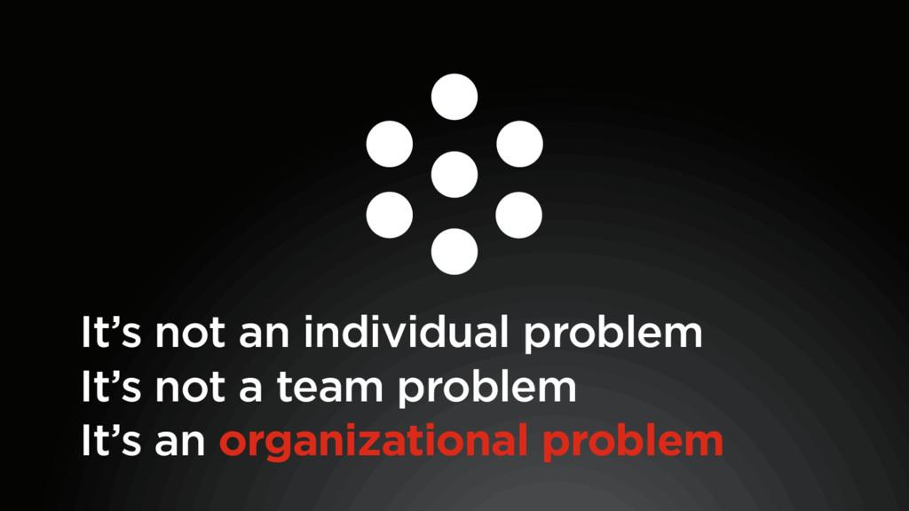 It's an organizational problem It's not a team ...