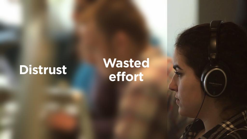 Wasted effort Distrust