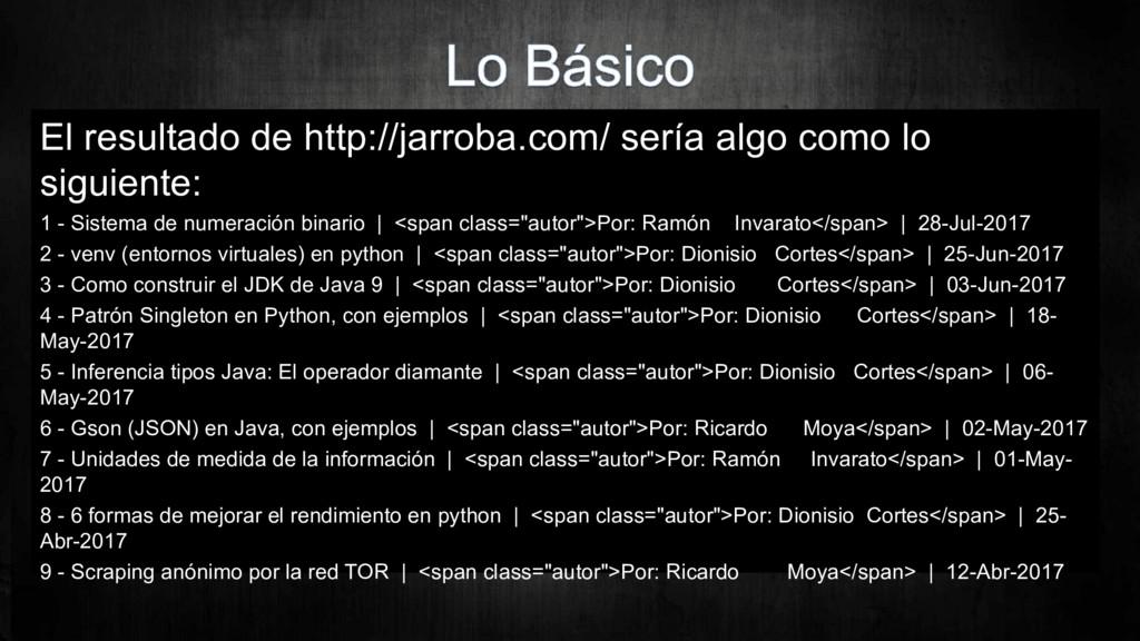 El resultado de http://jarroba.com/ sería algo ...