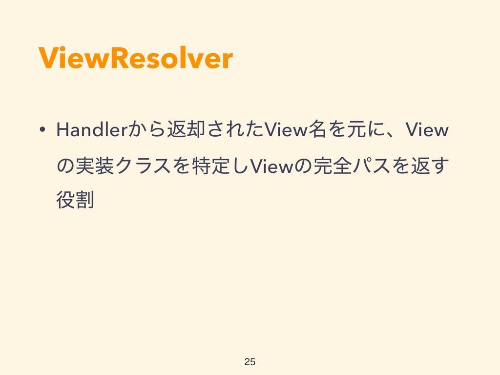 ViewResolver • Handler͔Βฦ٫͞ΕͨView໊ΛݩʹɺView ͷ࣮Ϋ...