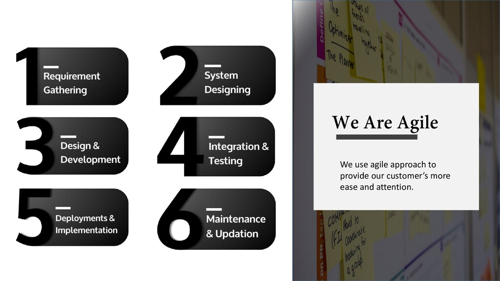 We use agile approach to provide our customer's...