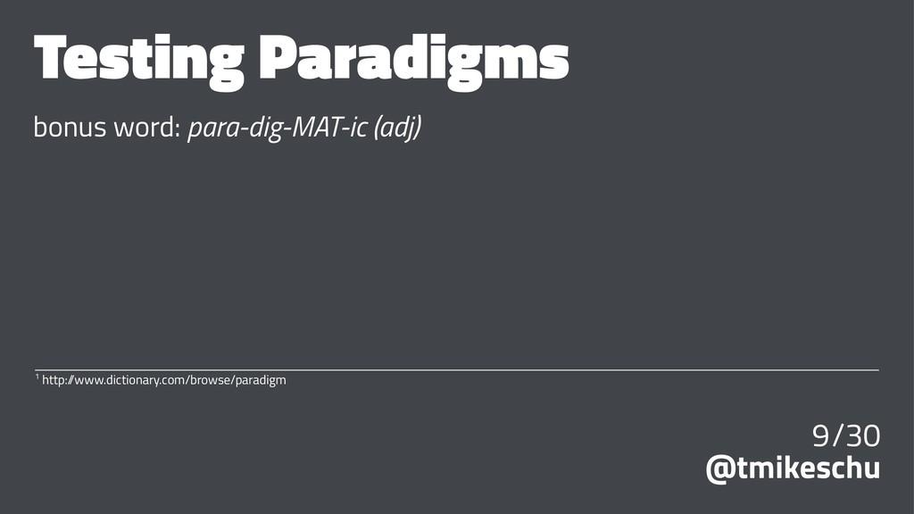 Testing Paradigms bonus word: para-dig-MAT-ic (...