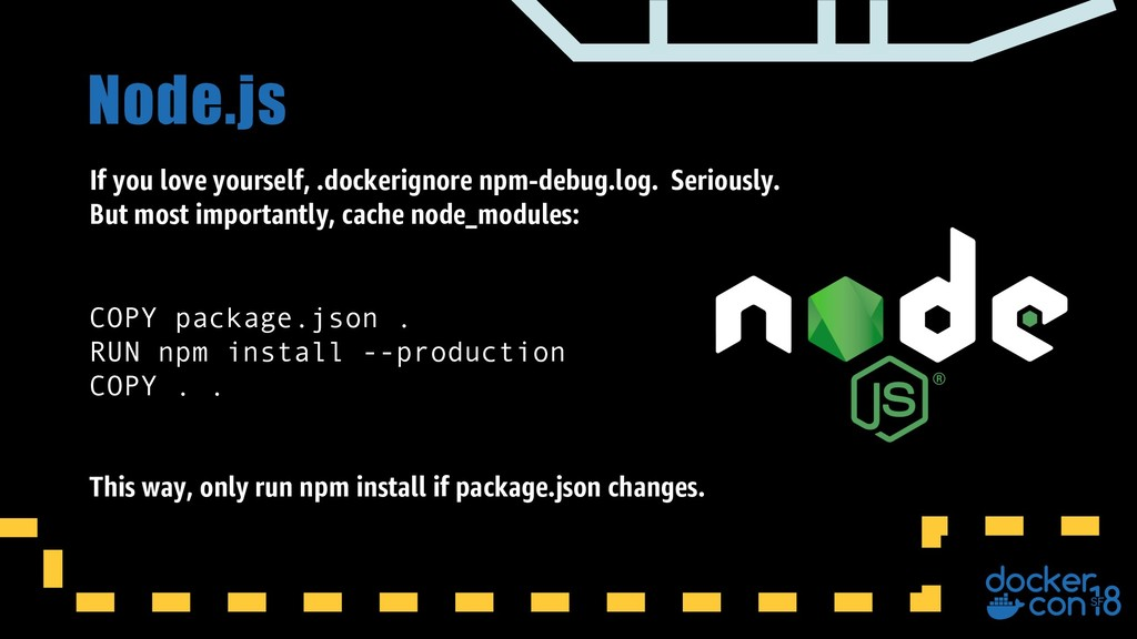 Node.js If you love yourself, .dockerignore npm...