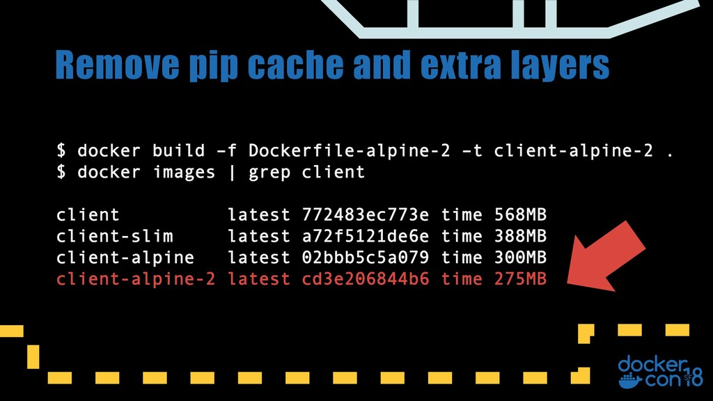 Remove pip cache and extra layers $ docker buil...