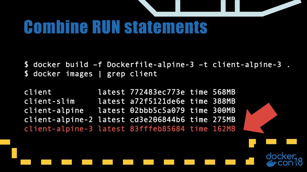 Combine RUN statements $ docker build –f Docker...