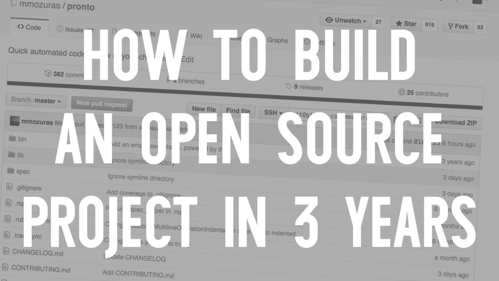 HOW TO BUILD AN OPEN SOURCE PROJECT IN 3 YEARS