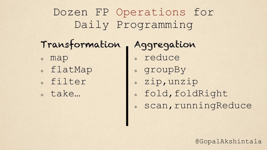 Transformation map flatMap filter take… Aggrega...