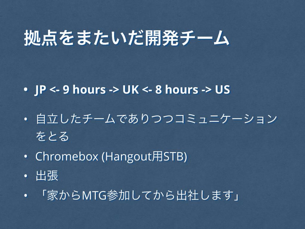• JP <- 9 hours -> UK <- 8 hours -> US • ཱࣗͨ͠νʔ...