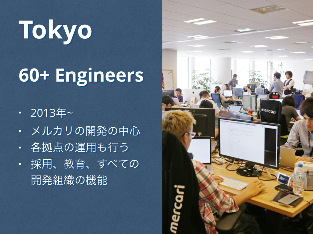 Tokyo 60+ Engineers • 2013~ • ϝϧΧϦͷ։ൃͷத৺ • ֤ڌ...