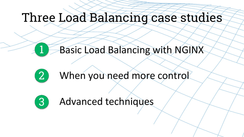 Three Load Balancing case studies Basic Load...
