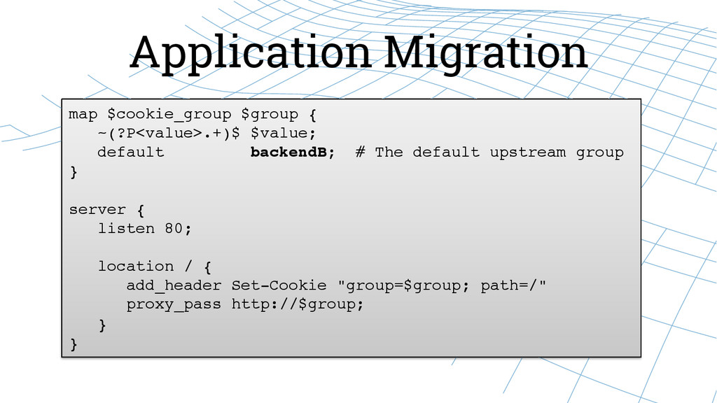 Application Migration map $cookie_group $group ...