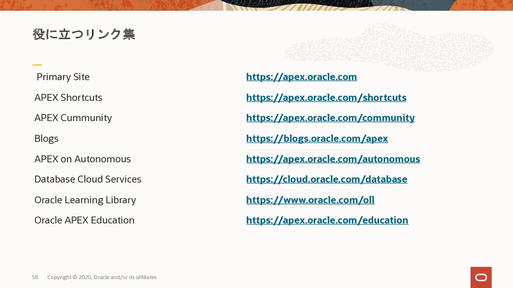 58 Copyright © 2020, Oracle and/or its affiliat...