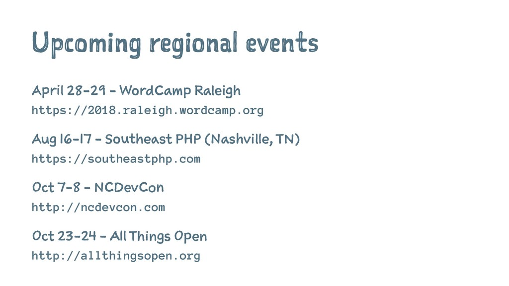 Upcoming regional events April 28-29 - WordCamp...