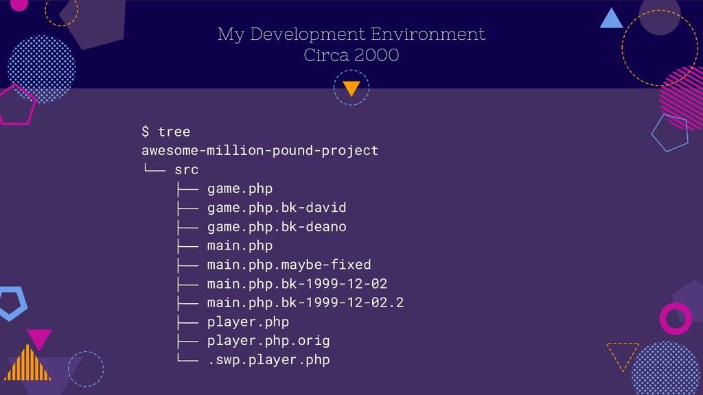 My Development Environment Circa 2000 $ tree aw...
