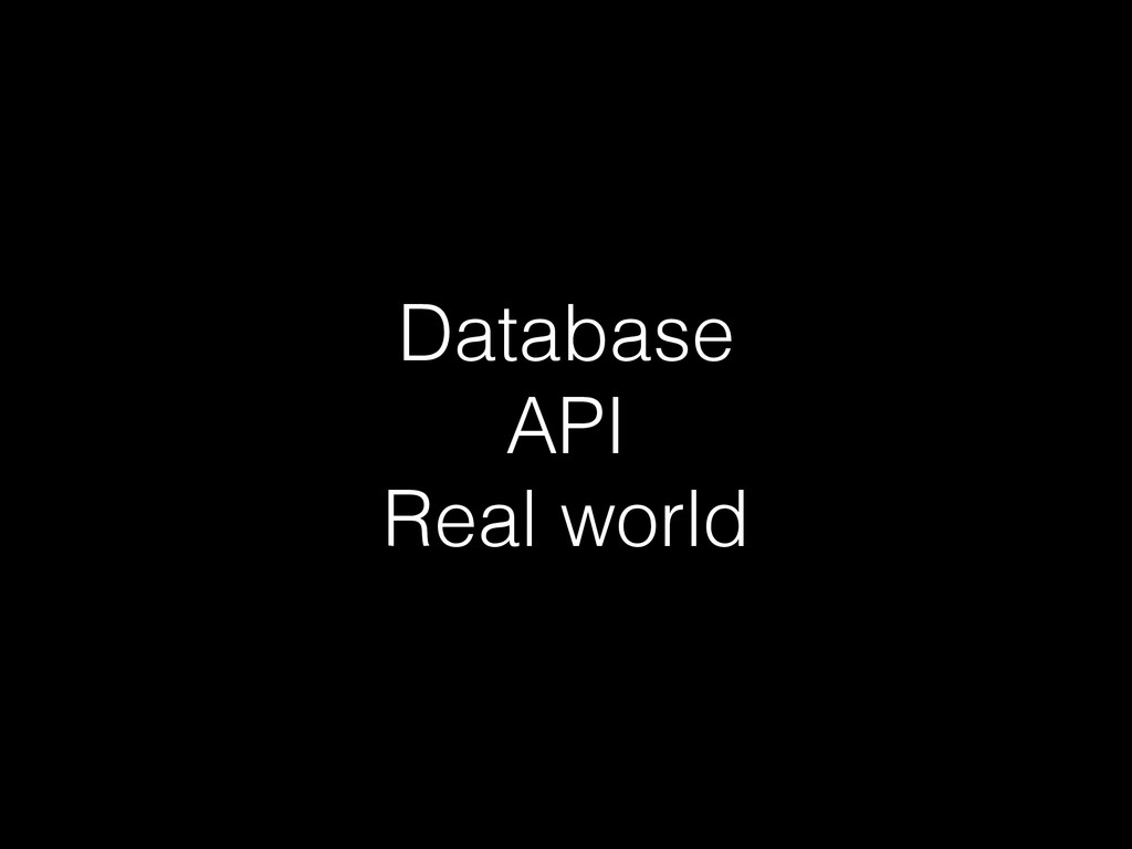 Database API Real world