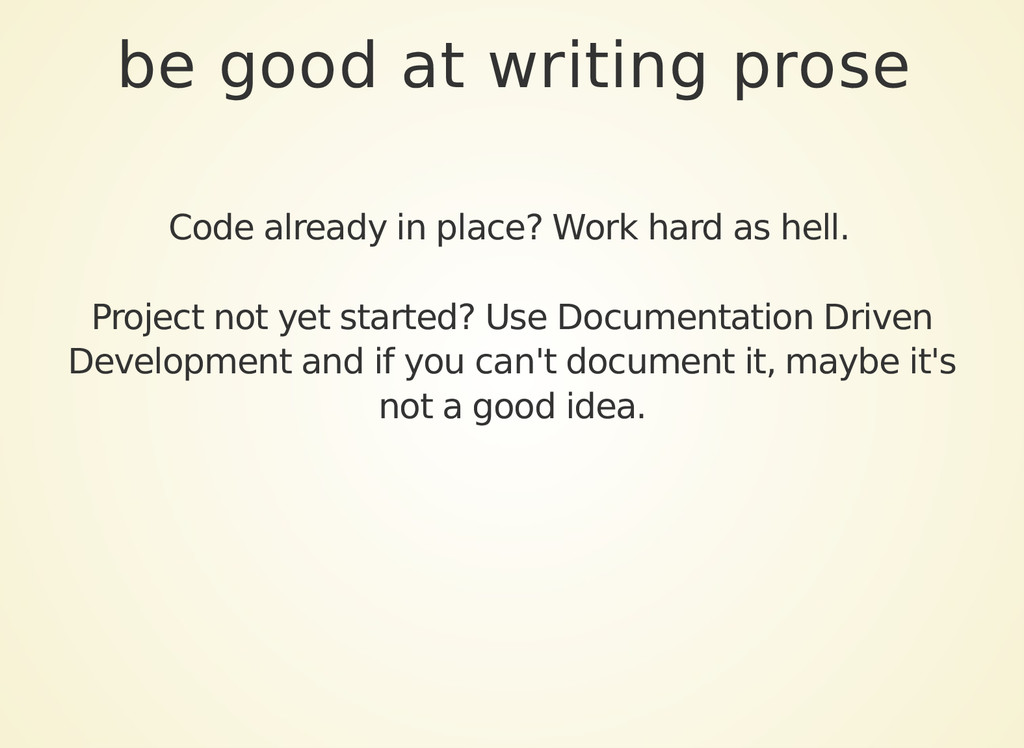 be good at writing prose Code already in place?...