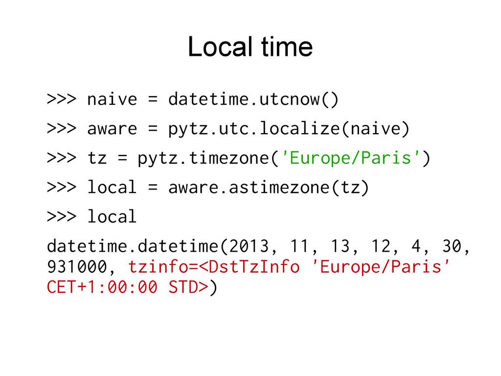 Local time >>> naive = datetime.utcnow() >>> aw...