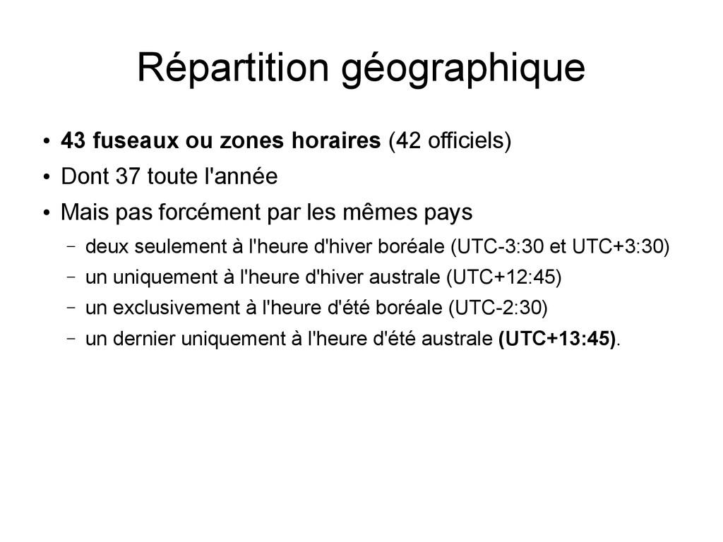 Répartition géographique ● 43 fuseaux ou zones ...
