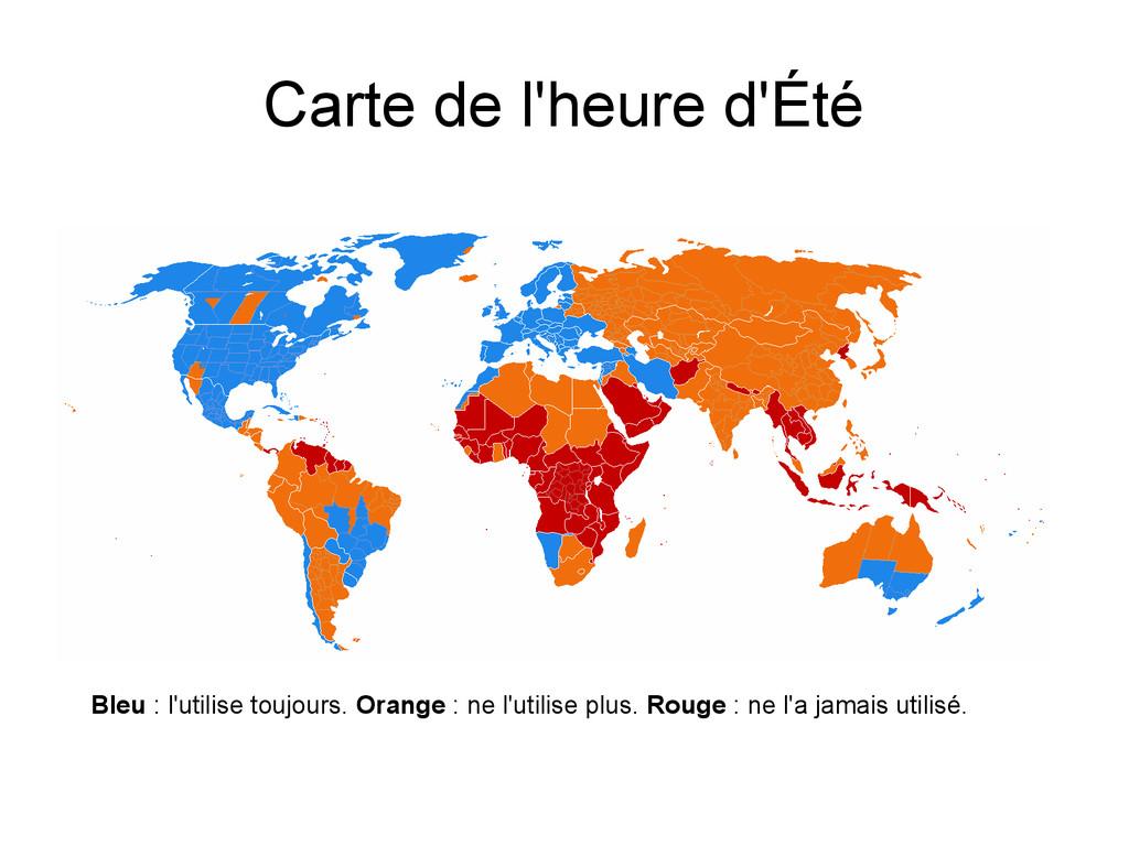 Carte de l'heure d'Été Bleu : l'utilise toujour...