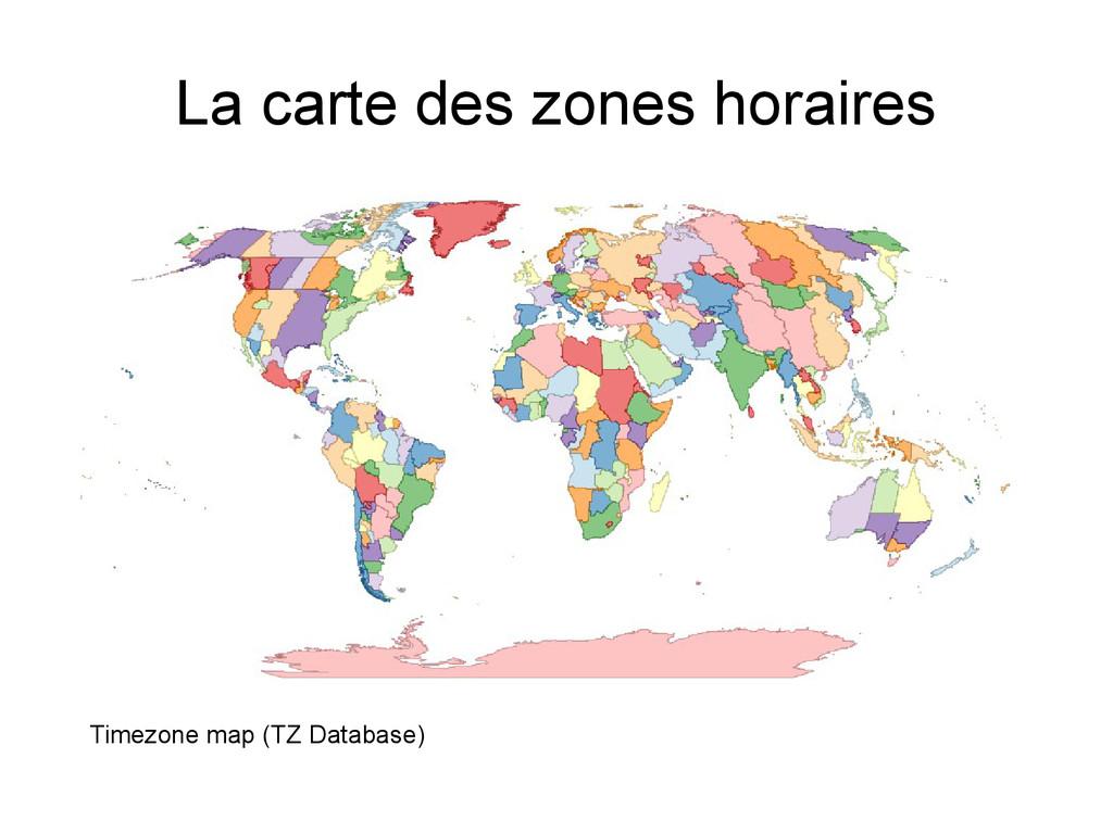 La carte des zones horaires Timezone map (TZ Da...