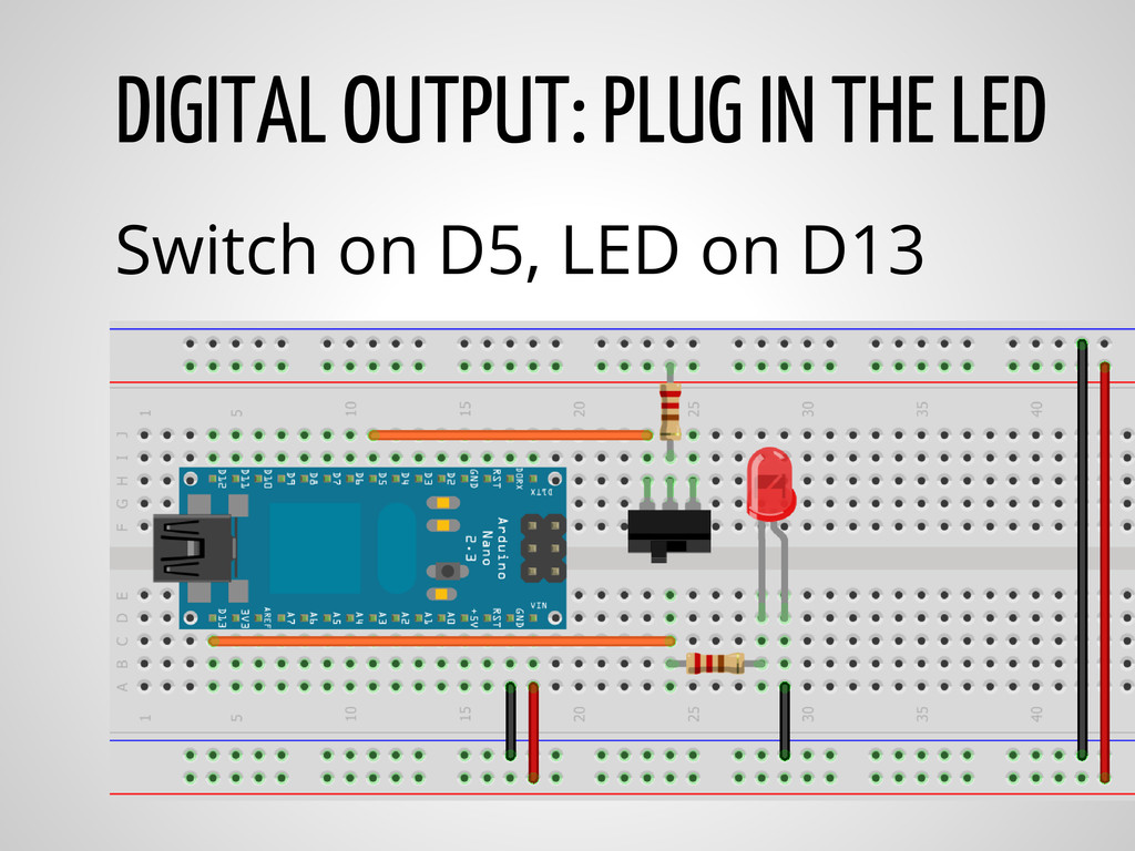 DIGITAL OUTPUT: PLUG IN THE LED Switch on D5, L...