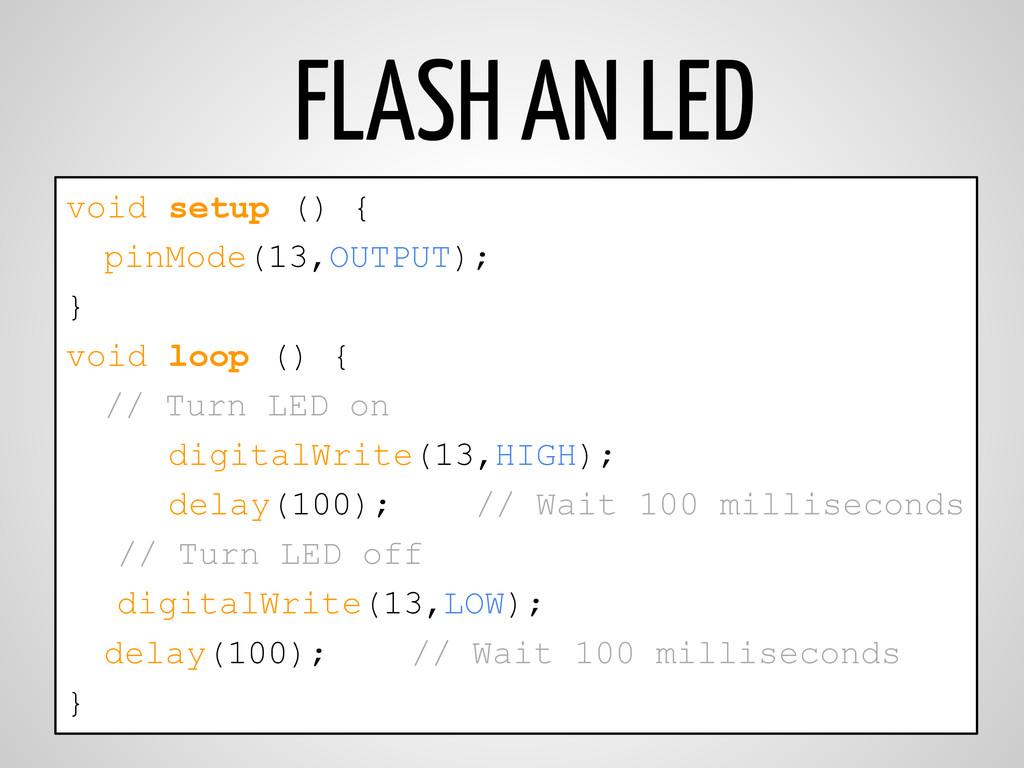 FLASH AN LED void setup () { pinMode(13,OUTPUT)...