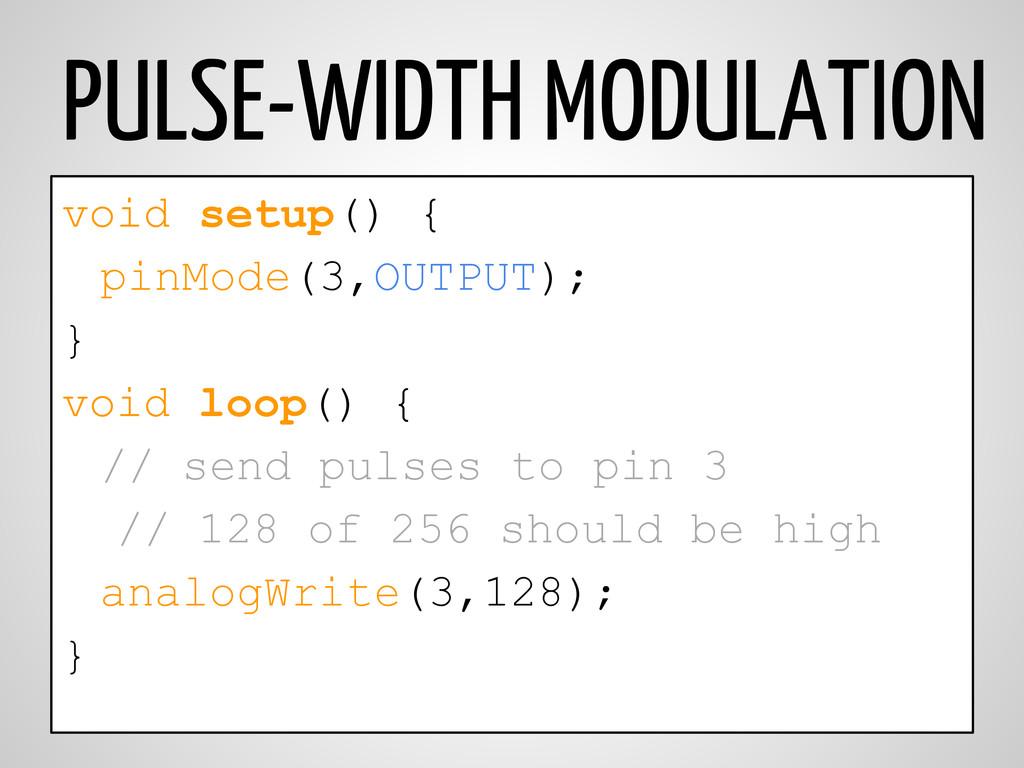 PULSE-WIDTH MODULATION void setup() { pinMode(3...