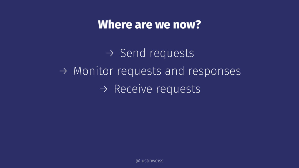 Where are we now? → Send requests → Monitor req...