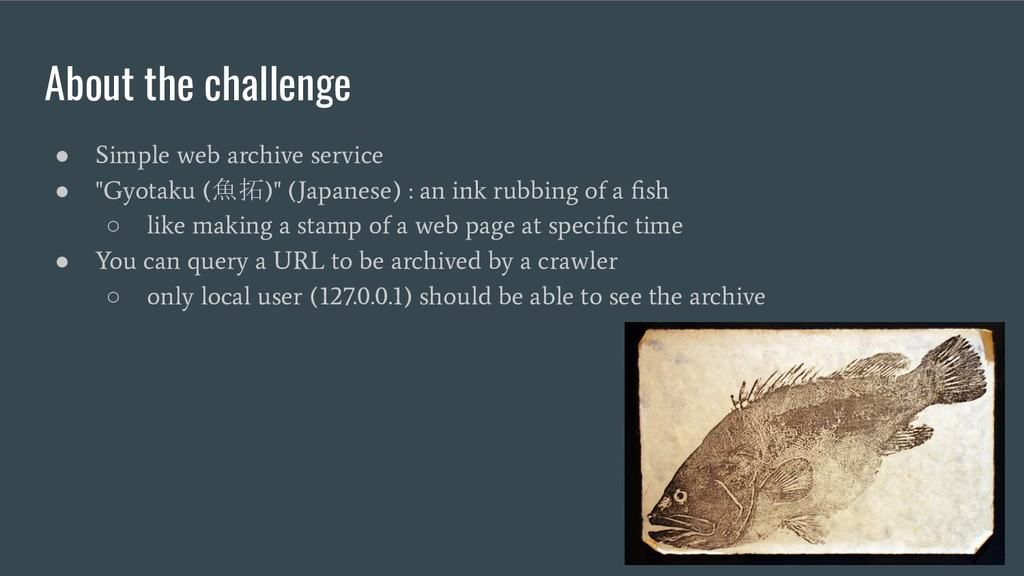 About the challenge ● Simple web archive servic...