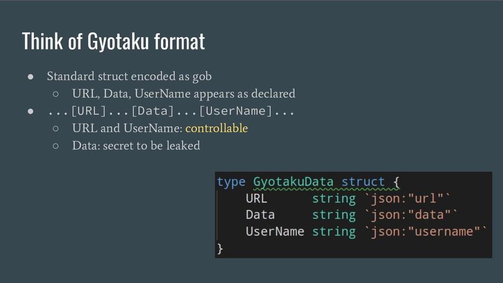 Think of Gyotaku format ● Standard struct encod...