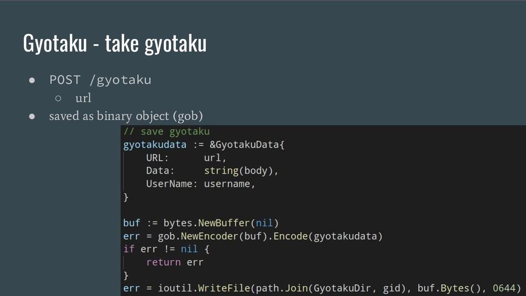 Gyotaku - take gyotaku ● POST /gyotaku ○ url ● ...