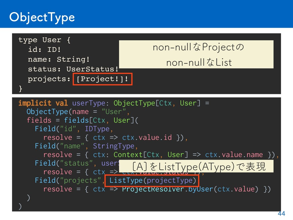 implicit val userType: ObjectType[Ctx, User] = ...