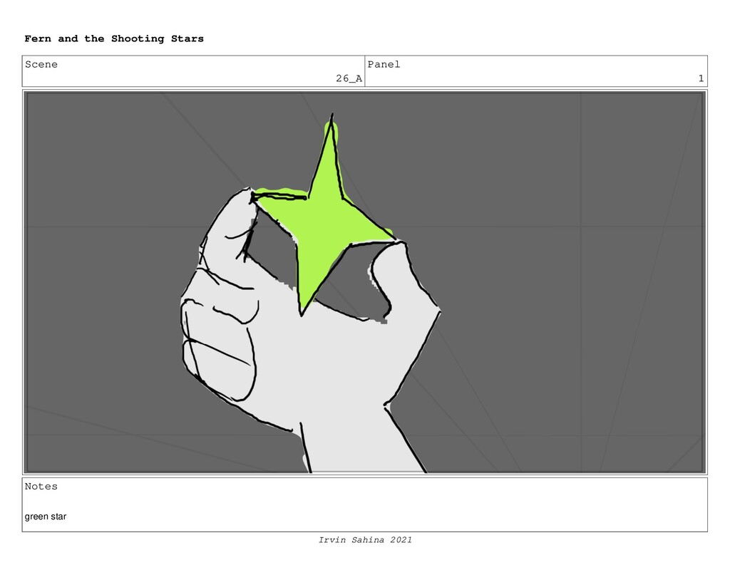Scene 26_A Panel 1 Notes green star Fern and th...