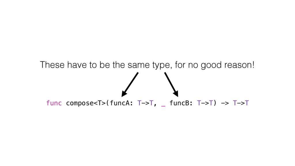 func compose<T>(funcA: T->T, _ funcB: T->T) -> ...