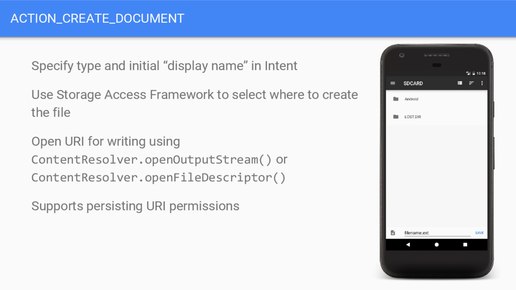 ACTION_CREATE_DOCUMENT Specify type and initial...
