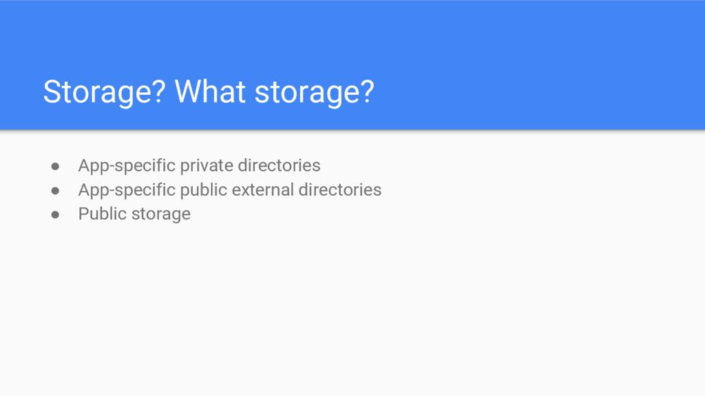 Storage? What storage? ● App-specific private d...