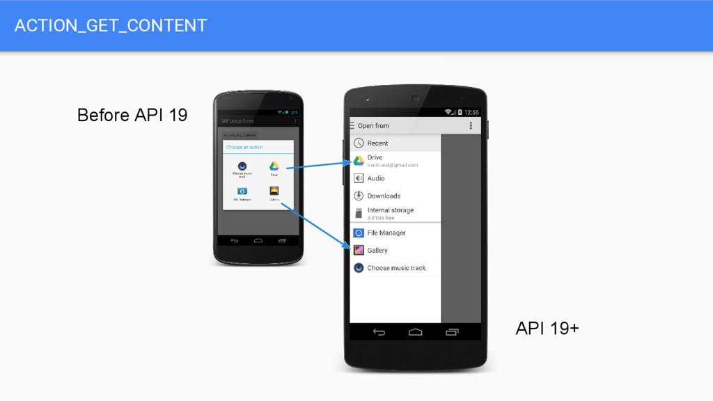 ACTION_GET_CONTENT Before API 19 API 19+