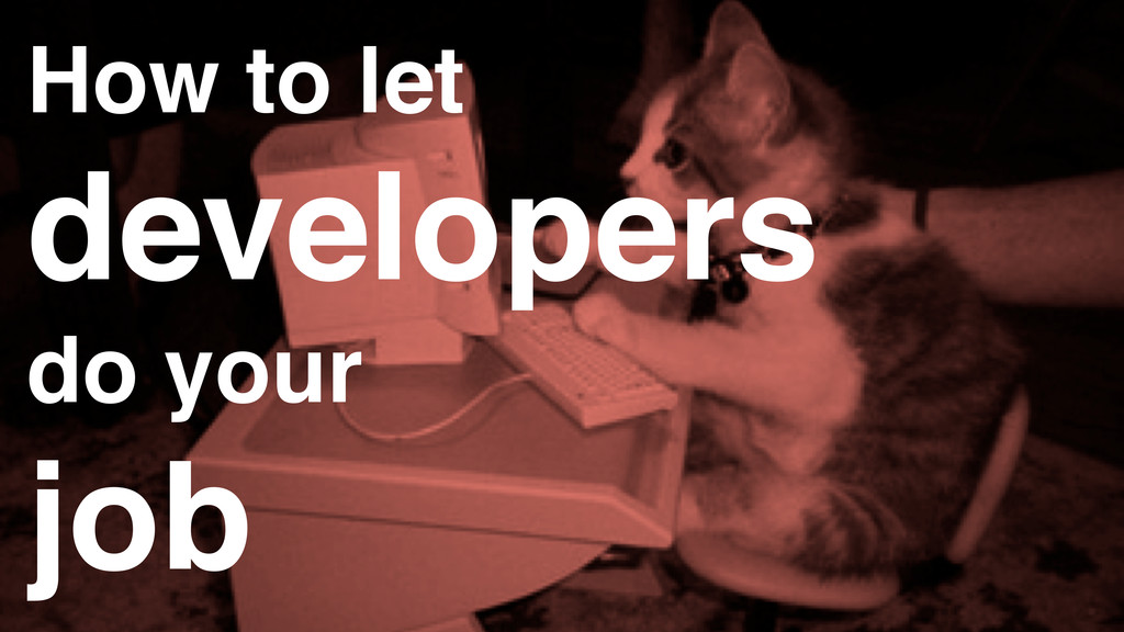 How to let developers do your job