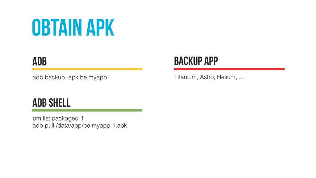 obtain apk adb backup -apk be.myapp ADB backup ...