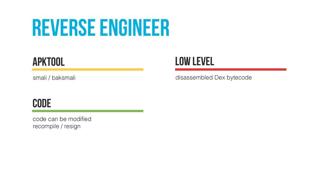 Reverse engineer smali / baksmali apktool low l...