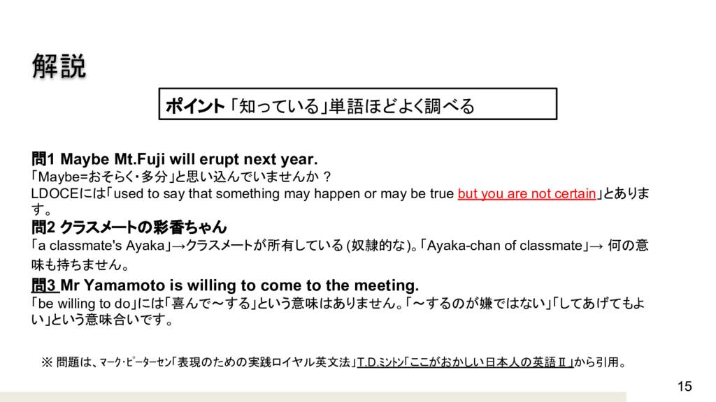 15 解説 問1 Maybe Mt.Fuji will erupt next year. 「M...