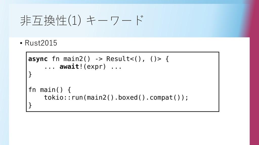 非互換性(1) キーワード • Rust2015 async fn main2() -> Re...