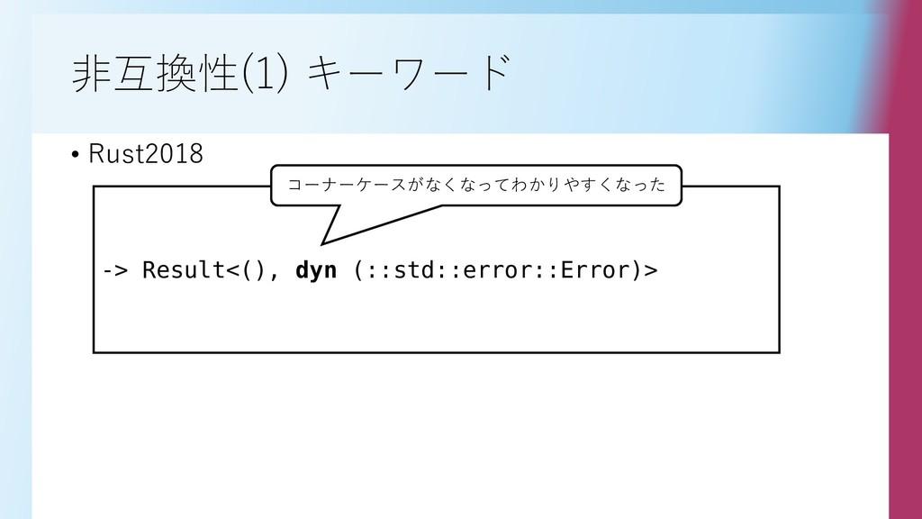 非互換性(1) キーワード • Rust2018 -> Result<(), dyn (::s...