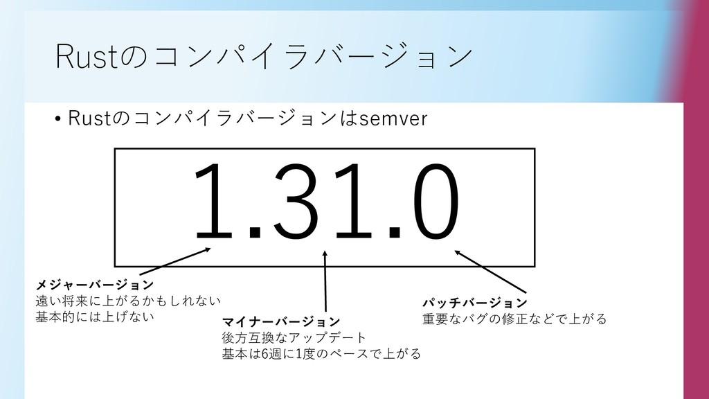 Rustのコンパイラバージョン • Rustのコンパイラバージョンはsemver 1.31.0...