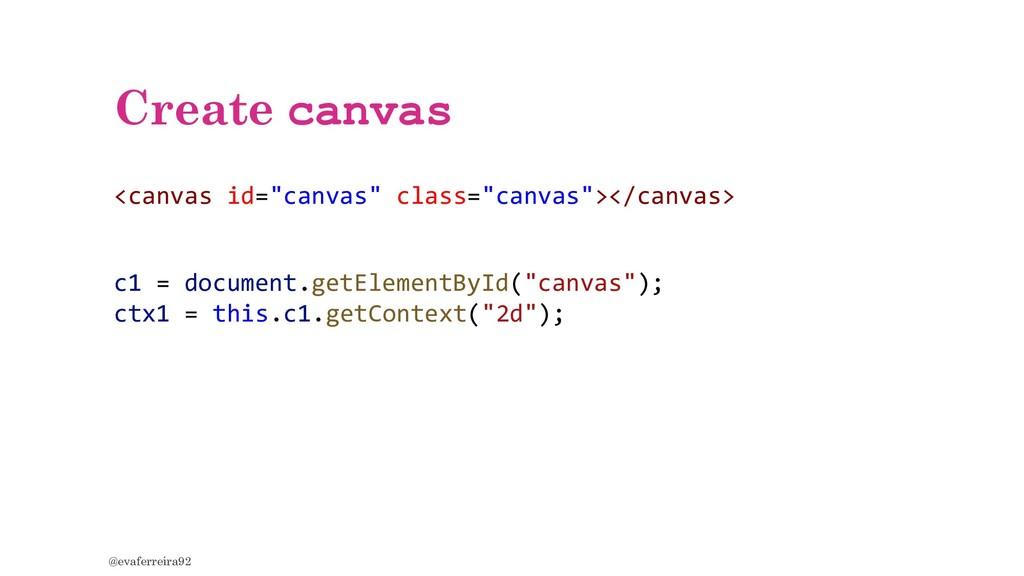 "Create canvas @evaferreira92 <canvas id=""canvas..."