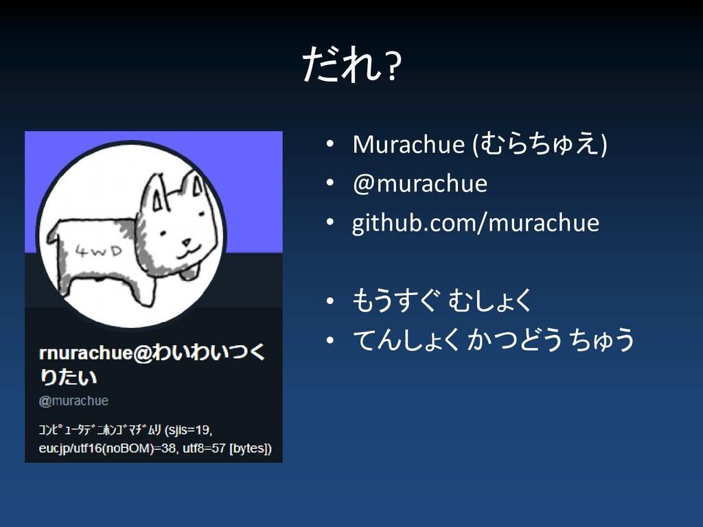 だれ? • Murachue (むらちゅえ) • @murachue • github.com...