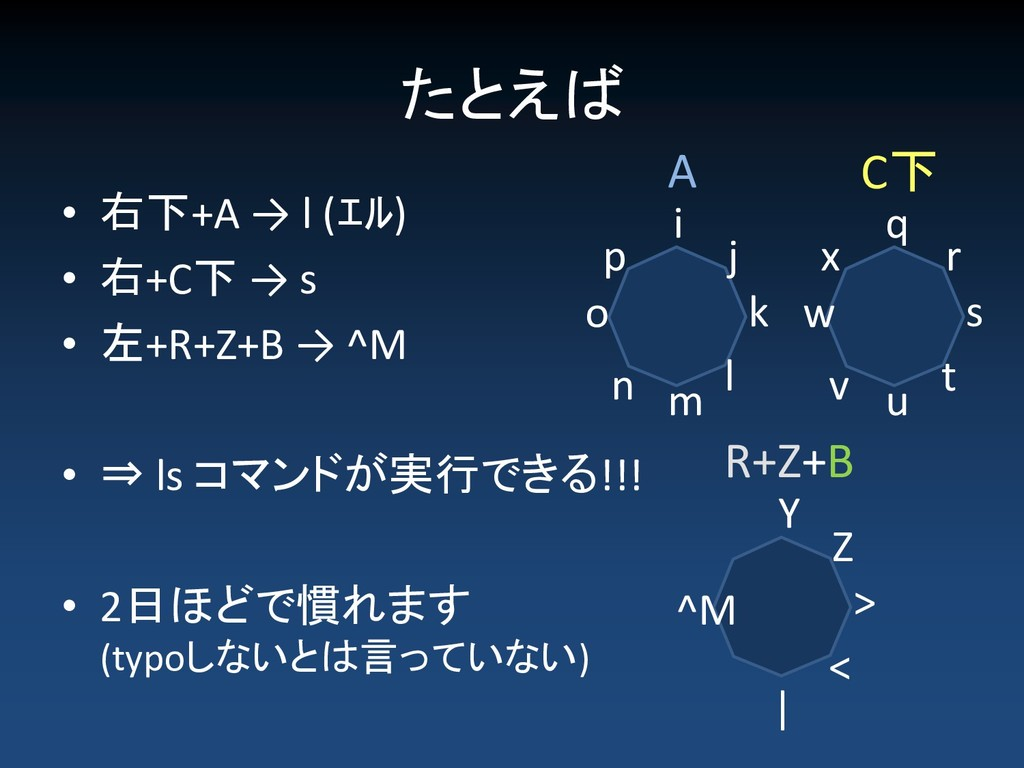 たとえば • 右下+A → l (エル) • 右+C下 → s • 左+R+Z+B → ^M ...