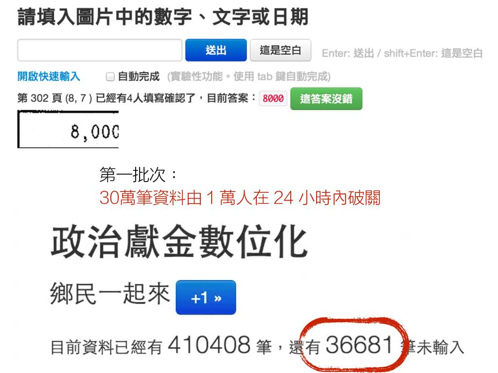 第一批次: 30萬筆資料由 1 萬人在 24 小時內破關