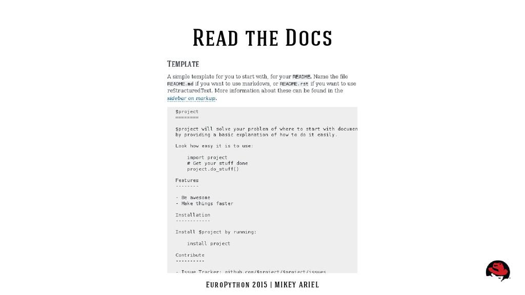 EuroPython 2015 | MIKEY ARIEL Read the Docs
